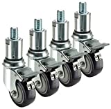 Krowne Metal 28-158S Set of (4) 3/4''-10 Adjustable Height Threaded Stem Swivel Casters with Locks, 3'' Diameter (6-7'' Height Adjustment)