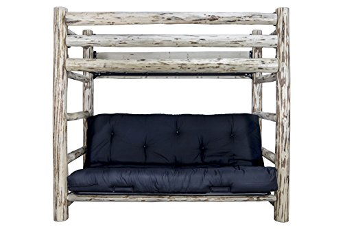wood bunk bed with futon - 5