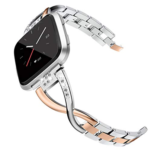 - Wearlizer Metal Replacement for Fitbit Versa/Fitbit Versa Lite Bands for Women Rose Gold Silver Black Small Large (Rose Gold+ Silver)