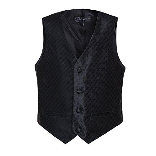 Childrens Black Tuxedo Vest (Ferrecci Boys Black Premium 300 Vest Hankie Necktie Bow Tie Set, Size 10)