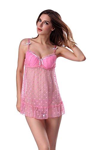 XFLY Women Sexy Polka Dots Cute Babydoll Lingerie Sets Push Up Bra Sleepwear