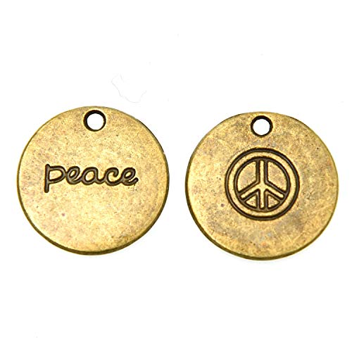 - Monrocco 40 pcs Alloy Peace Charms Peace Sign Charms Pendants for DIY Necklace Bracelet Jewelry Making (Antique Bronze)