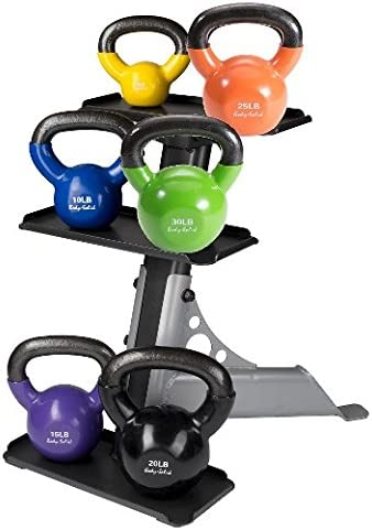 Body Solid Vinyl Coated Colored Kettlebells 5 – 30LBS with Rack