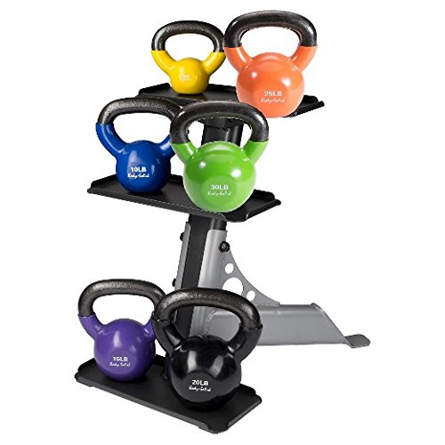 Body Solid Vinyl Coated Colored Kettlebells 5 - 30LBS with Rack