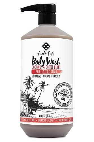 Alaffia - Everyday Coconut Body Wash, Normal to Dry Skin, Helps Gently Moisturize and Cleanse Toxins and Grime with Coffee Berry and Coconut Oil, Fair Trade, Coconut and Coffee Berry, 32 Ounces (FFP) by Alaffia