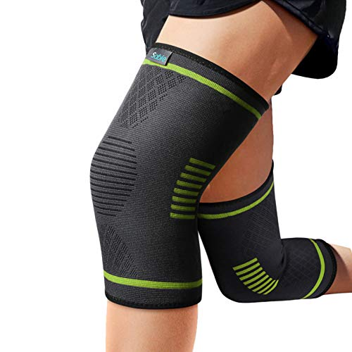 Sable Knee Braces Compression Sleeves 1 Pair for Men & Women – Knee Support for Running, Basketball, Weightlifting, Gym, Workout, Sports and More, Black, Small