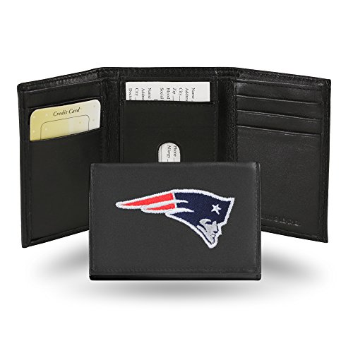 NFL New England Patriots Embroidered Genuine Cowhide Leather Trifold Wallet (Wear England Patriots New)