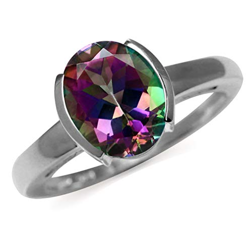 3.04ct. Mystic Fire Topaz 925 Sterling Silver Solitaire Ring Size 8 ()