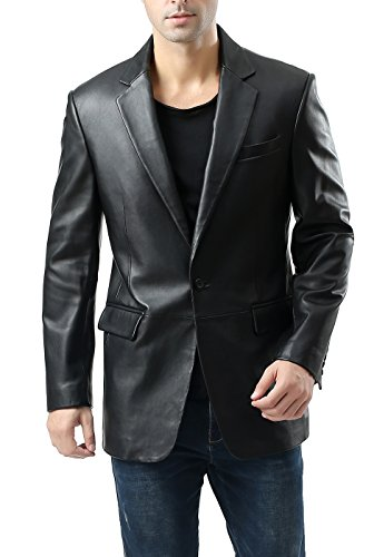 - BGSD Men's Nicholas One-Button Lambskin Leather Blazer - XL Short Black