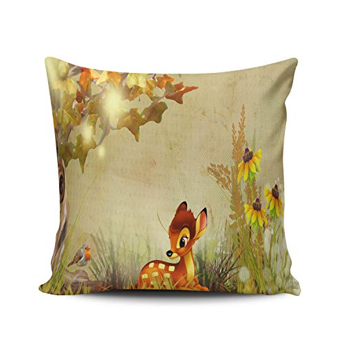 MUKPU Home Custom Decor Deer Fawn Pillowcase Breathable Throw Pillow Case Hidden Zipper Double Sides Design Print Square 24x24 Inches
