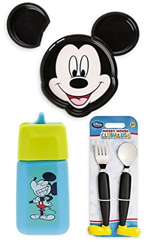 Disney Mickey Mouse Plate Set with Detachable Ears Clubhouse Fork & Spoon Flatware + Mickey Mouse & Donald Blue Juice Box Sip cup