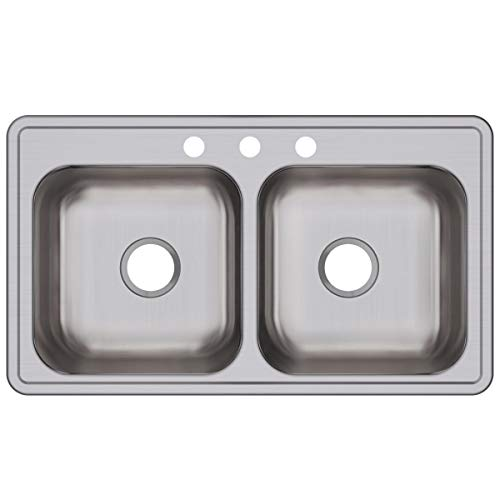 Elkay DSE233193 Dayton Equal Double Bowl Drop-in Stainless Steel - Stainless 3 Sink Steel Dayton