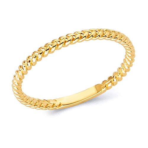 Wellingsale Ladies 14K Yellow Gold Braided Rope Design Wedding Ring Band - Size 6