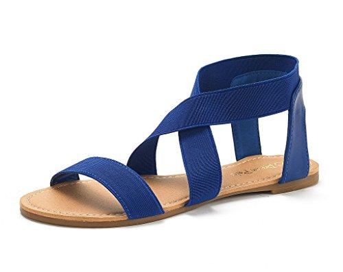 DREAM PAIRS Women's Elatica-6 Royal Blue Elastic Ankle Strap Flat Sandals - 8.5 M - Flats Royal Elastics