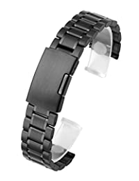Top Plaza Black 22mm Solid Stainless Steel Straight End Link Bracelet Wrist Watch Band Strap Replacement Single Fold Over Clasp 3 Rows Metal Strap