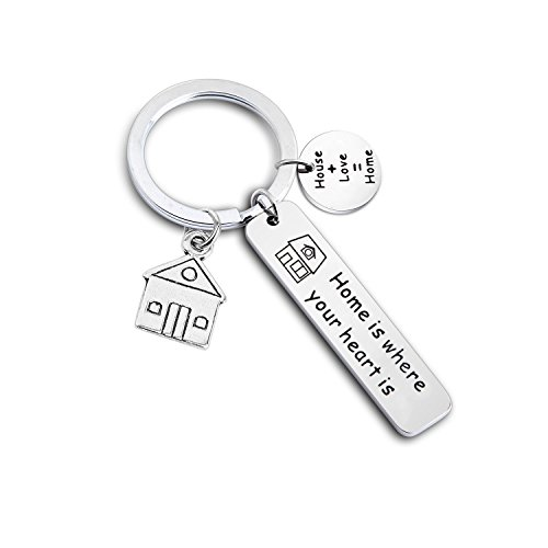Gzrlyf Home Keychain New House Keyring Homeowner Gift Home is Where Your Heart is Keychain New House Gift New Home Gift Housewarming Gift (Home Keychain)