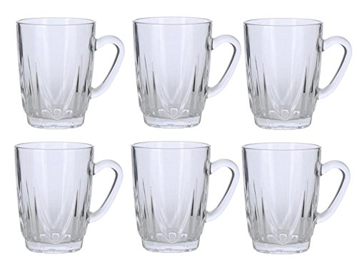 Alpine Cuisine AI18411 6-Pieces of 8 Oz Florence Pattern Clear Teacup Drinking Glass