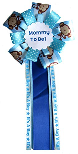 Handmade Monkey Boys Mommy to be corsage Blue Ribbons Baby shower
