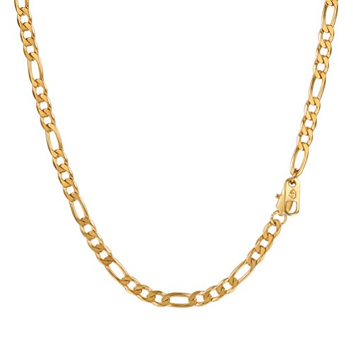 Figaro Women Link Necklace (PROSTEEL Chain Necklace,Figaro Link Chain Choker Necklace,Gold Chain for Men,18K Real Gold Plated,18inches,Hip Hop Jewelry)