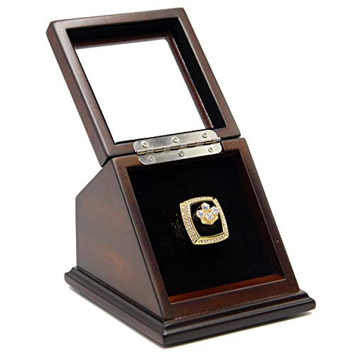 Display Case for Football Rings Slanted Basketball Hockey Sports Championship Ring Wooden with Real Glass Window 1 -