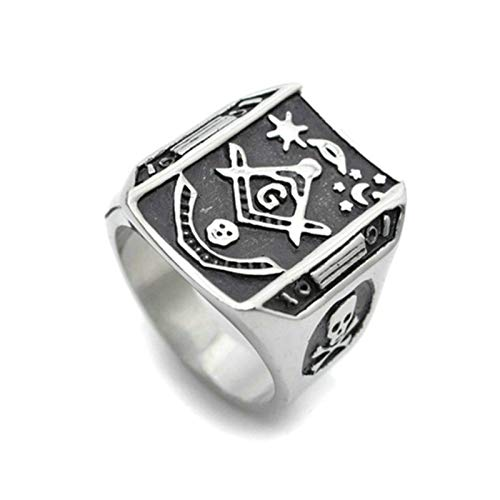 Aooaz Jewelry Anniversary Rings for Men Rechteck Freimaurer G Masonic Stainless Steel Ring US Size 11 (Rechteck-symbol)