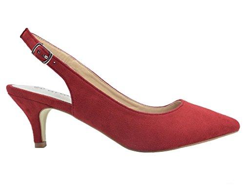 para en Tacón Clásicos Hebillas Mujer y Zapatos Rojo la Greatonu Trasera Espigones de con Tiras Parte zqOnwC