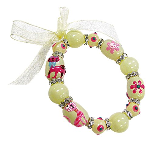 Linpeng Kitty Cat & Flowers Hand Painted Stretch Beaded Bracelet, Cream,Pink