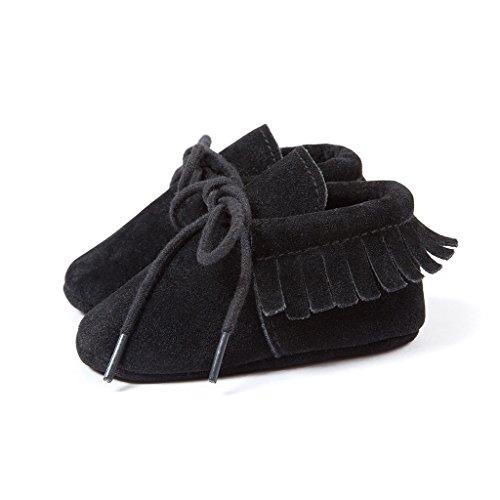 Top-Sell Niños Infantes Borlas Decoración Zapatos De Bebé Anti Slip Soft Sole Prewalker Negro