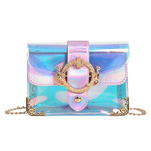 Sameno Clear Bag ✿ Womens Jelly Bag Waterproof PVC Cross Body Shoulder Bag Chain Strap Messenger Cosmetic Bag Purse Girls Handbag, Magnetic Closure and Sculptural Metallic Buckle - 7 x5 x2
