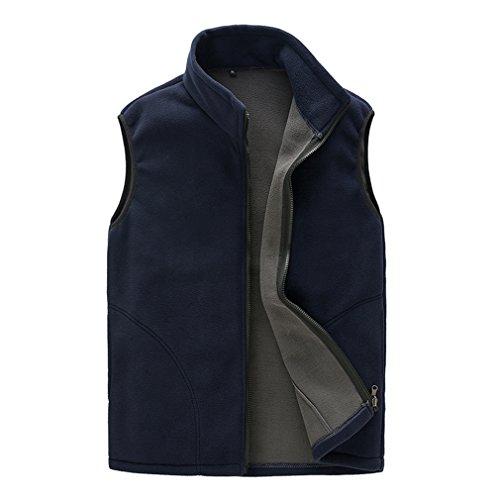 BOSOZOKU Mens Thermal Fleece Vest Full Zip Gilet Sleeveless Casual Bodywarmer Waistcoat Outdoor Fleece Jacket(XL,Dark blue)