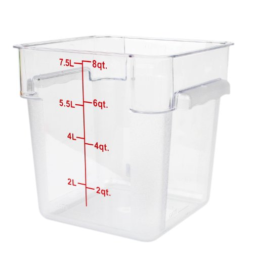 Excellante 849851007529 Polycarbonate Square Food Storage Containers, 8 quart, Clear