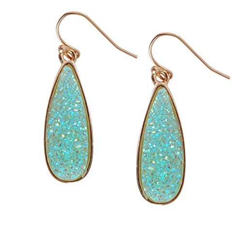 Humble Chic Simulated Druzy Drop Dangles - Gold-Tone Sparkly Long Teardrop Dangly Earrings for Women, Simulated Turquoise, Simulated Aquamarine, Mint, Aqua, Simulated Jade, Gold-Tone