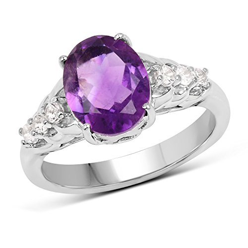 2.20 Carats Genuine African Amethyst Oval Ring Solid .925 Sterling Silver With Rhodium (Genuine African Amethyst Ring)