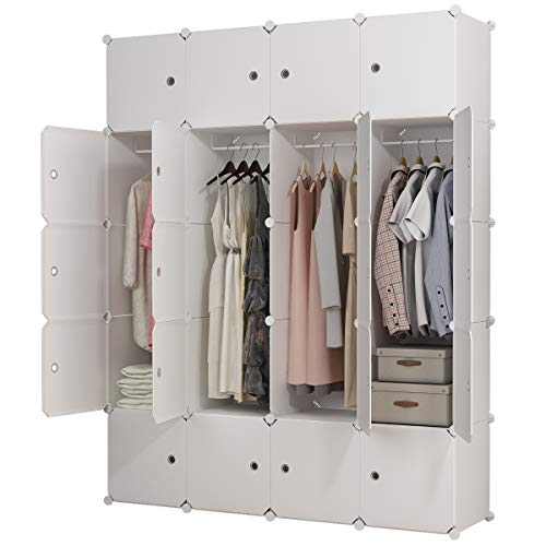 KOUSI Portable Clothes Closet Wardrobe Bedroom Armoire Dresser Cube Storage Organizer, Capacious & Customizable, White, 8 Cubes+4 Hanging Sections by KOUSI