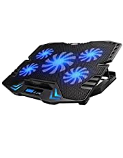 12-15.6 inch laptop Cooling Pad,cooler USB Fan with 5 cooling Fans Light Notebook Stand and Quiet Fixture for laptop