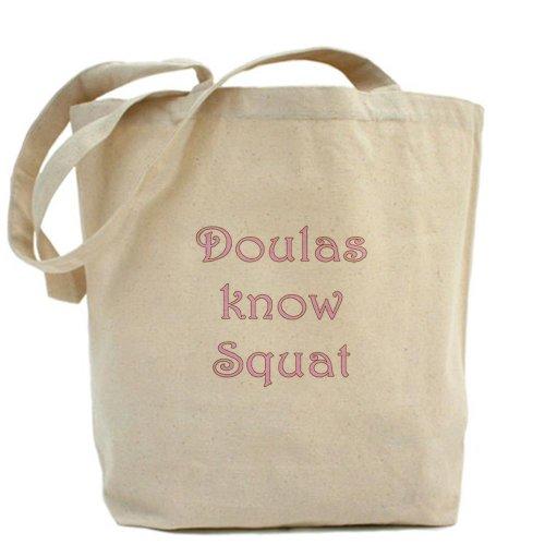 Cafepress–Doulas know squat–Borsa di tela naturale, tessuto in iuta