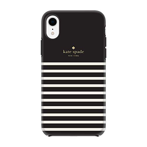 Kate Spade New York Phone Case for Apple iPhone XR Protective Phone Cases with Slim Design Drop Protection and Floral Print, Soft Touch Comold Feeder Stripe Black/Cream/Gold Logo