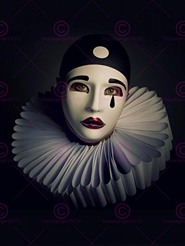 Doppelganger33 Ltd Photo Portrait Study Performer Pierrot Mask Costume Canvas Art Print -