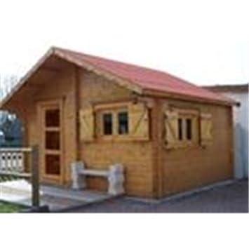Abri de jardin en bois semi habitable, emboîté 60 mm: Amazon.fr: Jardin