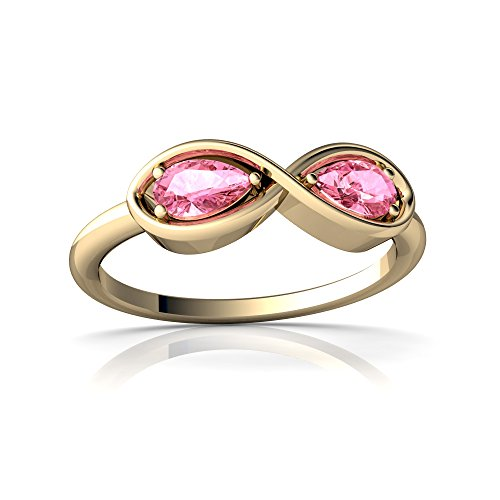 14kt Gold Lab Pink Sapphire 5x3mm Pear Infinity Ring