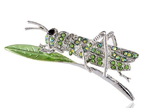 Costumes Anna Teen (Alilang Peridot Green Crystal Rhinestone Grasshopper Locust Leaf Silvery Tone Pin)