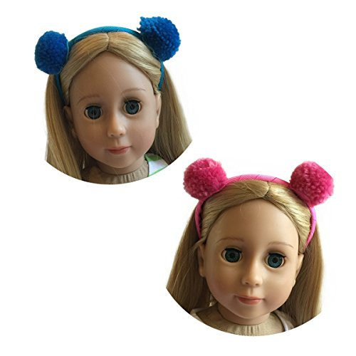 18 Inch Doll Headband Set of Two - Pom Pom Headbands Blue and Pink Set of 2 for Dolls - Fits American Girl