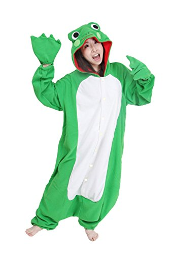 FashionFits Unisex Fleece Frog Animal Jumpsuit Costume Hoodie Pyjamas Sleepwear M