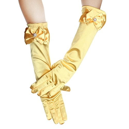 Long Satin Formal Gloves,Kids Size Full Finger with Pearl Bowknot for Girls Children Wedding Dress Evening Party Pageant,Elbow Length 10BL (OneSize, ()