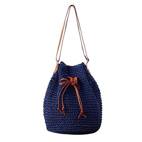 Blue Drawstring Shoulder Bucket Woven Straw Small Lady Donalworld Hobo Bag Korean xFqSvSwT6