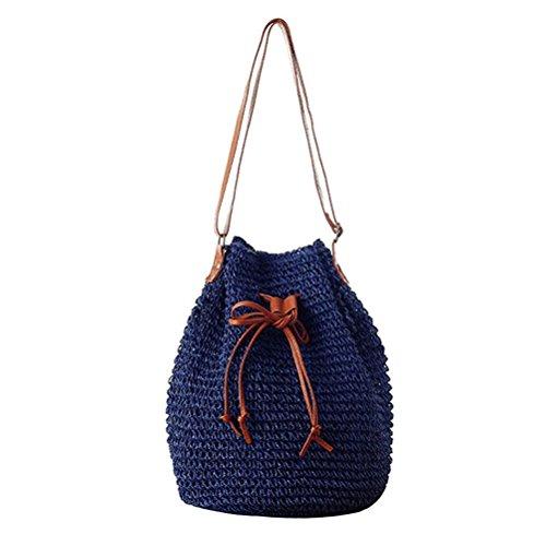 cordon paille Hobo donalworld à tissé Bleu avec bandoulière seau sac Petit de coréen Bleu Sac Lady sac wY8q1YfA