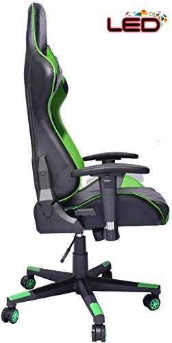 turismo racing ancora series green led gaming chair big and tall black and green seat has. Black Bedroom Furniture Sets. Home Design Ideas