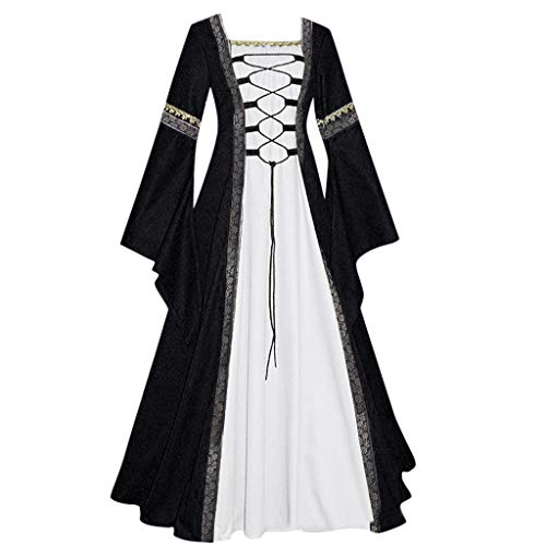 Cosplay Costumes for Women,Kauneus Women's Retro Medieval Renaissance Cosplay Costume Dress 6 Colors S-5XL Black