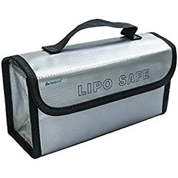 Noiposi Fireproof Explosion-proof Lipo Battery Safe Bag Battery Guard Sleeve Lipo Safe Bag with Strong Handle 220x100x75mm Large Size, pack of 1