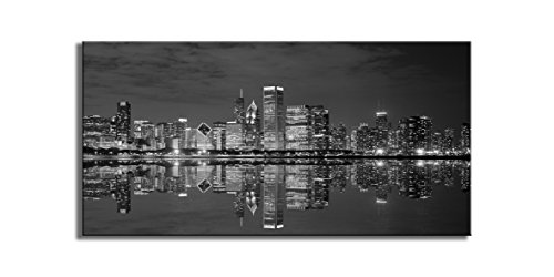 Black and White Cool Building in Dark Color in Chicago Wall Art Photograph Printed on Canvas for Home Wall Decoration City Pictures for Home Deco (Black and White, ()